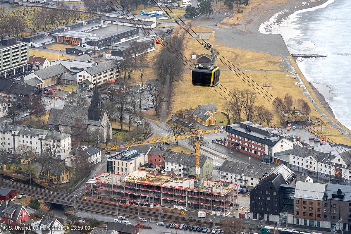 Voss Gondol Vangskyrkja Nytt kontorbygg reiser seg på Fengselstomta Tinghuset Voss Ungdomsskule Prestegardslandet