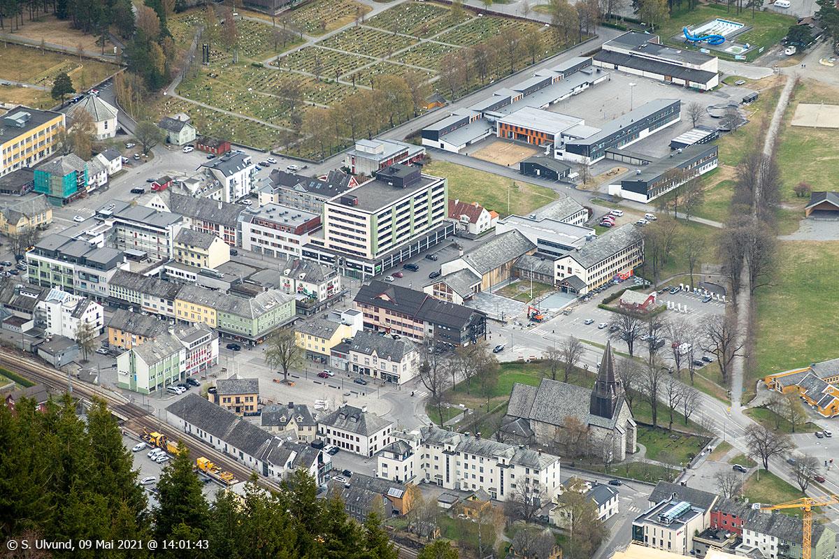 Vangsgata Uttrågata Tinghusplassen Tinghuset Voss Ungdomsskule Hestavangen